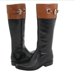 Leather Two Tone Riding Boots Anne Klein Chandler